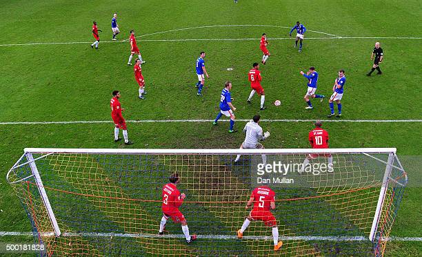 Anthony Sweeney of Carlisle United scores his side's second goal during the Emirates FA Cup Second Round match between Welling United and Carlisle...