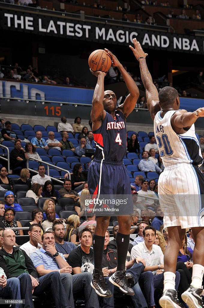 Anthony Tolliver #4 of the Atlanta Hawks attempts a shot against the Orlando Magic during the game on February 13, 2013 at Amway Center in Orlando, Florida.