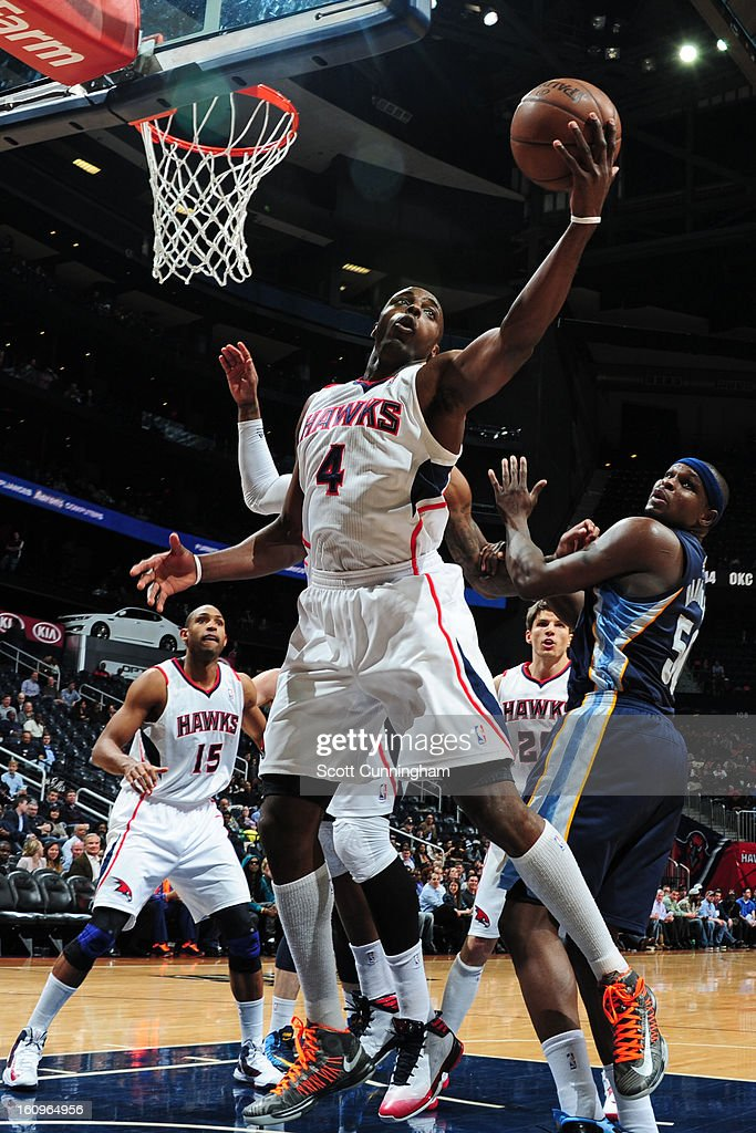 <a gi-track='captionPersonalityLinkClicked' href=/galleries/search?phrase=Anthony+Tolliver&family=editorial&specificpeople=4195496 ng-click='$event.stopPropagation()'>Anthony Tolliver</a> #4 of the Atlanta Hawks grabs the rebound against the Memphis Grizzlies on February 6, 2013 at Philips Arena in Atlanta, Georgia.