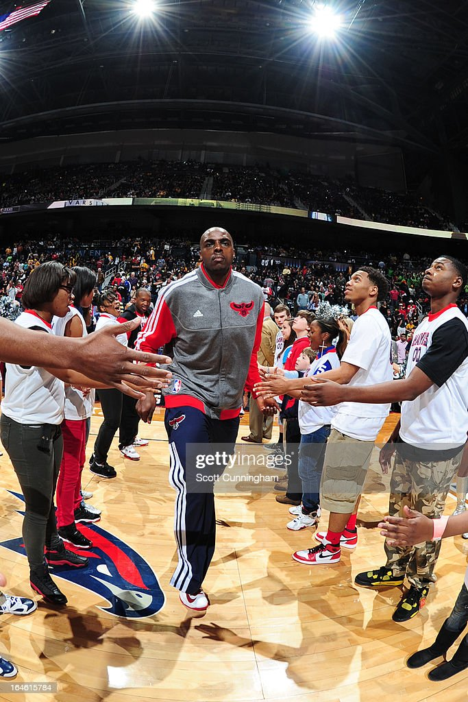 Anthony Tolliver #4 of the Atlanta Hawks runs out before the game against the Los Angeles Lakers on March 13, 2013 at Philips Arena in Atlanta, Georgia.
