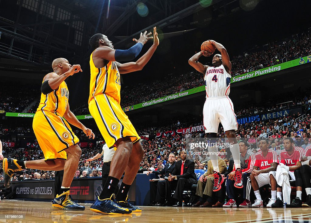 Anthony Tolliver #4 of the Atlanta Hawks shoots the ball against the Indiana Pacers during Game Six of the Eastern Conference Quarterfinals in the 2013 NBA Playoffs on May 3, 2013 at Philips Arena in Atlanta, Georgia.