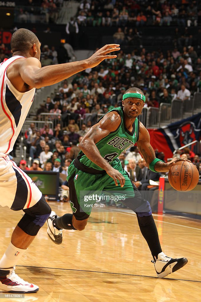 <a gi-track='captionPersonalityLinkClicked' href=/galleries/search?phrase=Anthony+Tolliver&family=editorial&specificpeople=4195496 ng-click='$event.stopPropagation()'>Anthony Tolliver</a> #4 of the Boston Celtics dribbles the ball against the Atlanta Hawks at the Philips Arena on January 25, 2013 in Atlanta, Georgia.