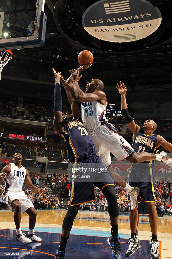 <a gi-track='captionPersonalityLinkClicked' href=/galleries/search?phrase=Anthony+Tolliver&family=editorial&specificpeople=4195496 ng-click='$event.stopPropagation()'>Anthony Tolliver</a> #43 of the Charlotte Bobcats shoots against <a gi-track='captionPersonalityLinkClicked' href=/galleries/search?phrase=Ian+Mahinmi&family=editorial&specificpeople=740196 ng-click='$event.stopPropagation()'>Ian Mahinmi</a> #28 of the Indiana Pacers during the game at the Time Warner Cable Arena on November 27, 2013 in Charlotte, North Carolina.