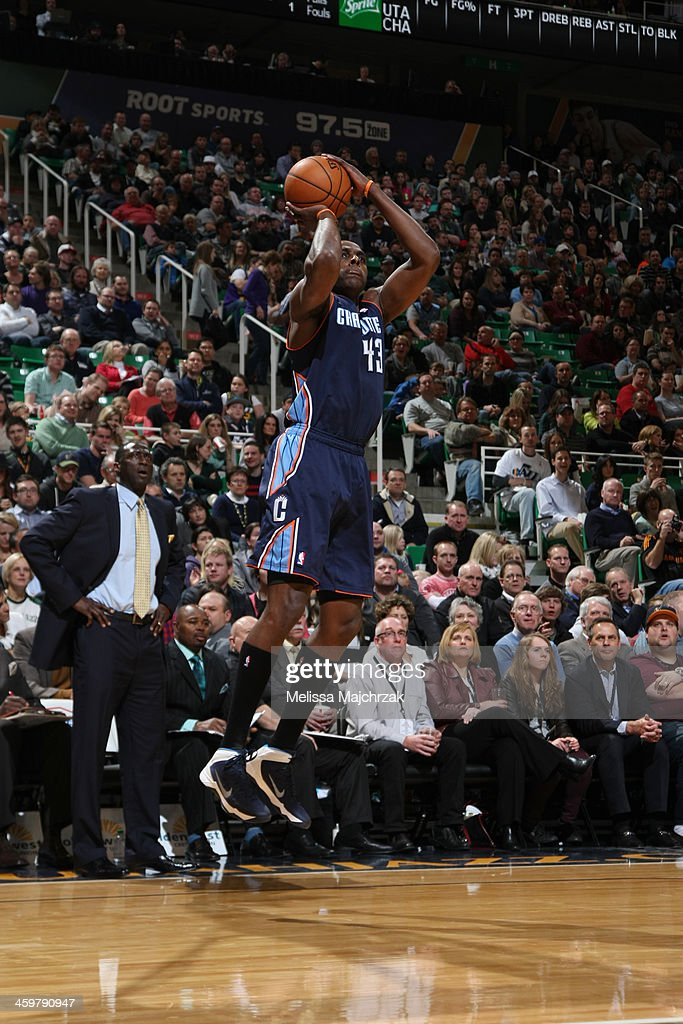 Anthony Tolliver of the Charlotte Bobcats shoots against the Utah Jazz at EnergySolutions Arena on December 30 2013 in Salt Lake City Utah NOTE TO...