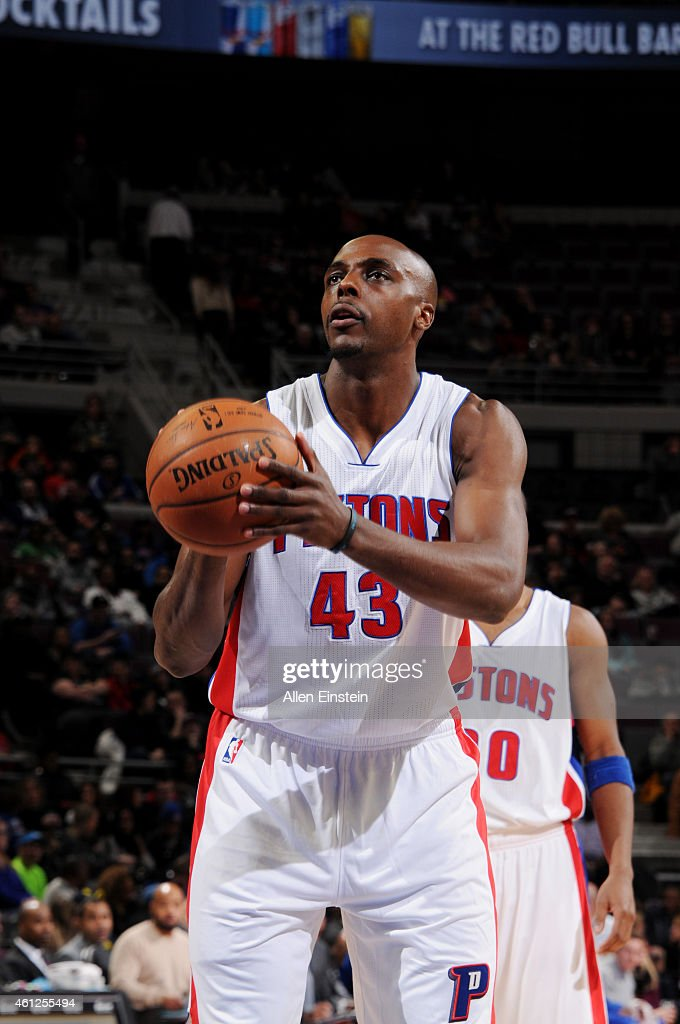 Anthony Tolliver of the Detroit Pistons attempts a free throw against the Atlanta Hawks on January 9 2015 at The Palace of Auburn Hills in Auburn...