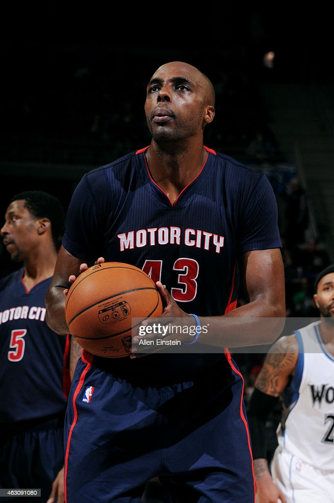 Anthony Tolliver of the Detroit Pistons attempts a free throw against the Minnesota Timberwolves on February 8 2015 at The Palace of Auburn Hills in...