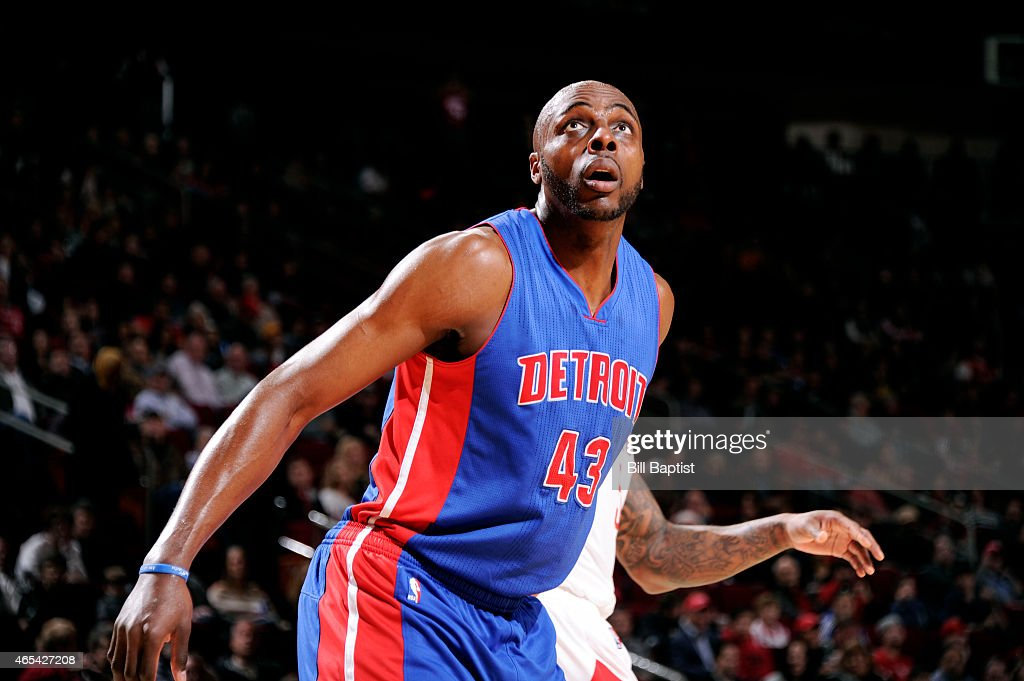 Anthony Tolliver of the Detroit Pistons battles for position against the Houston Rockets on March 6 2015 at the Toyota Center in Houston Texas NOTE...