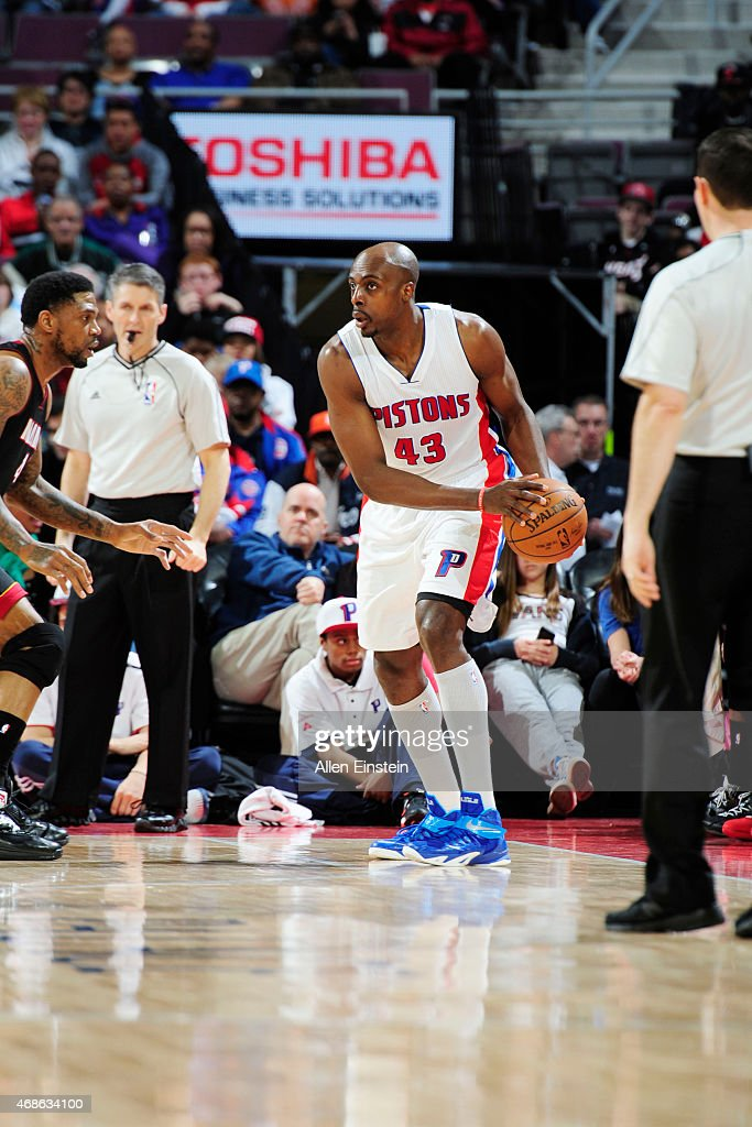 Anthony Tolliver of the Detroit Pistons defends the ball against the Miami Heat during the game on April 4 2015 at The Palace of Auburn Hills in...