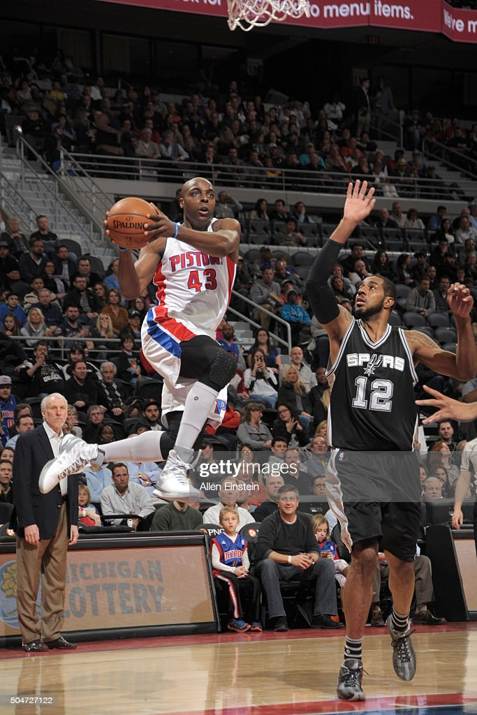 Anthony Tolliver of the Detroit Pistons goes for the layup during the game against the San Antonio Spurs on January 12 2016 at The Palace of Auburn...