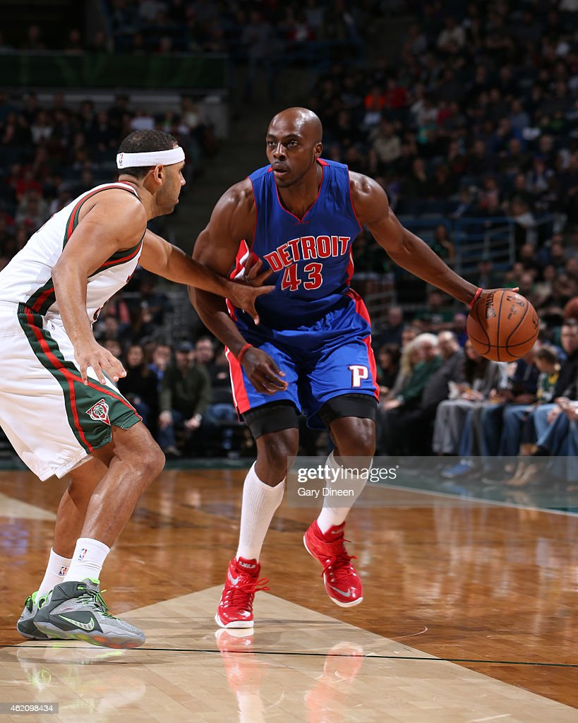 Anthony Tolliver of the Detroit Pistons handles the ball against the Milwaukee Bucks on January 24 2015 at BMO Harris Bradley Center in Milwaukee...