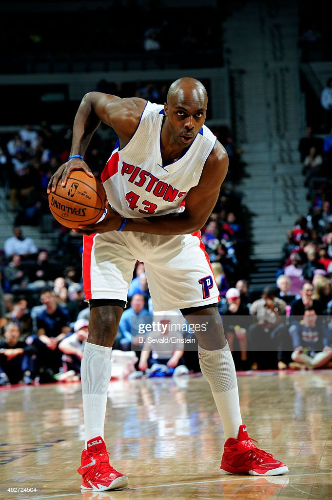 Anthony Tolliver of the Detroit Pistons handles the ball against the Miami Heat on February 3 2015 at The Palace of Auburn Hills in Auburn Hills...