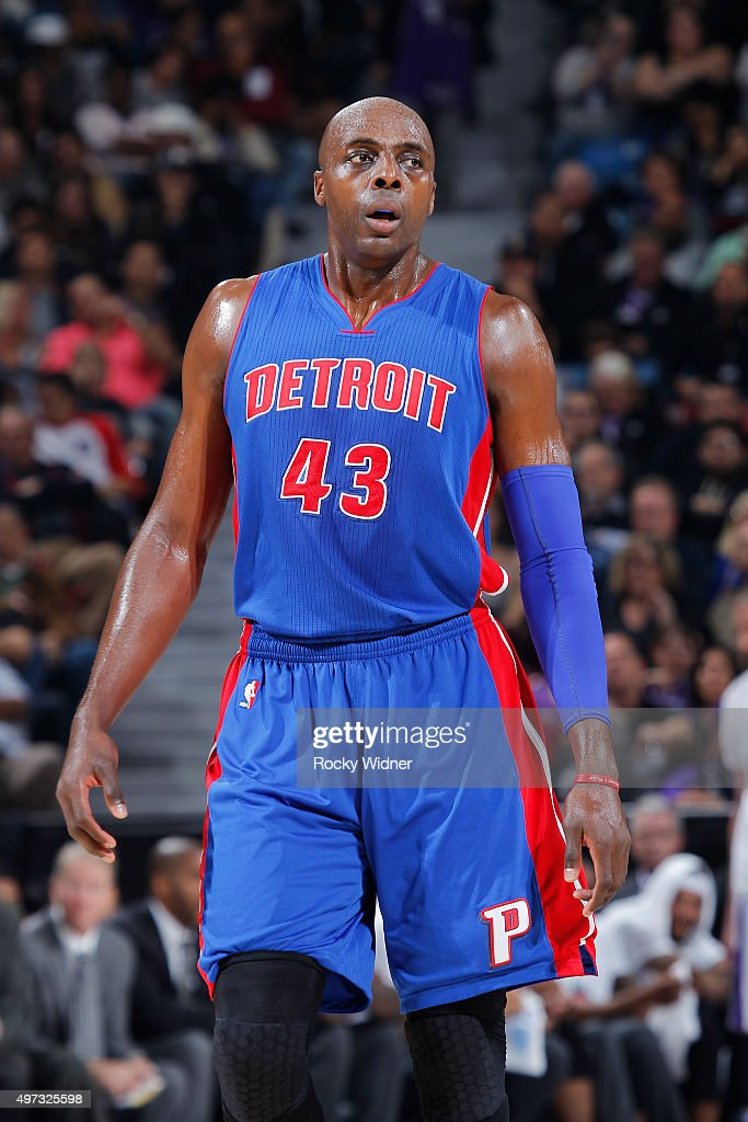 Anthony Tolliver of the Detroit Pistons looks on during the game against the Sacramento Kings on November 11 2015 at Sleep Train Arena in Sacramento...