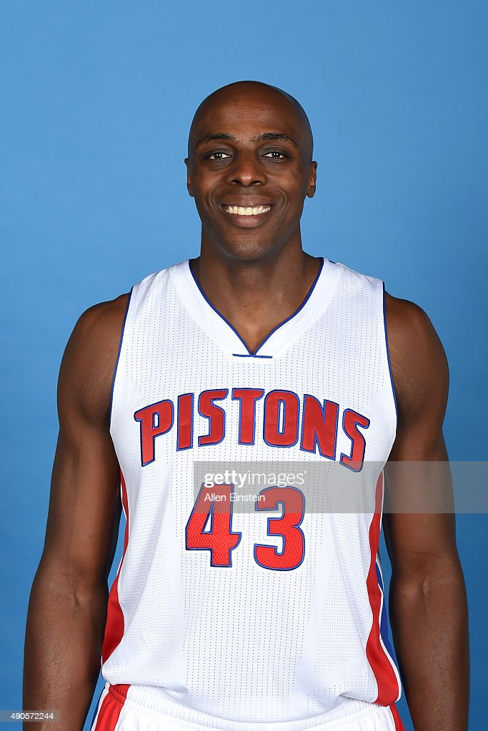 Anthony Tolliver of the Detroit Pistons poses for a portrait during media day on September 28 2015 at The Palace of Auburn Hills in Auburn Hills...