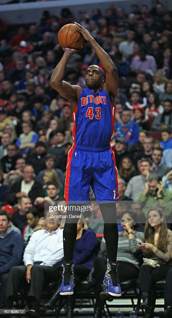 Anthony Tolliver of the Detroit Pistons puts up a shot against the Chicago Bulls at the United Center on December 18 2015 in Chicago Illinois NOTE TO...