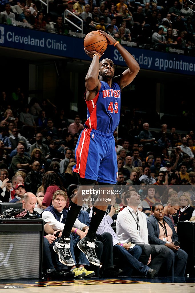 Anthony Tolliver of the Detroit Pistons shoots against the Cleveland Cavaliers at The Quicken Loans Arena on April 13 2015 in Cleveland Ohio NOTE TO...
