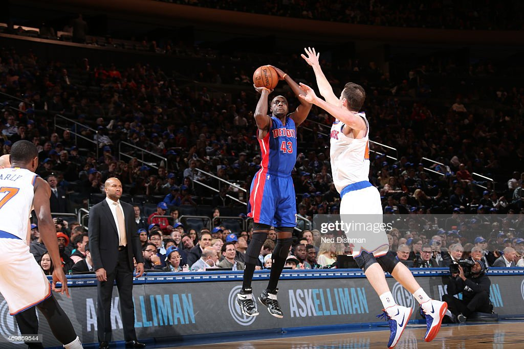 Anthony Tolliver of the Detroit Pistons shoots against the New York Knicks on April 15 2015 at Madison Square Garden in New York City NOTE TO USER...