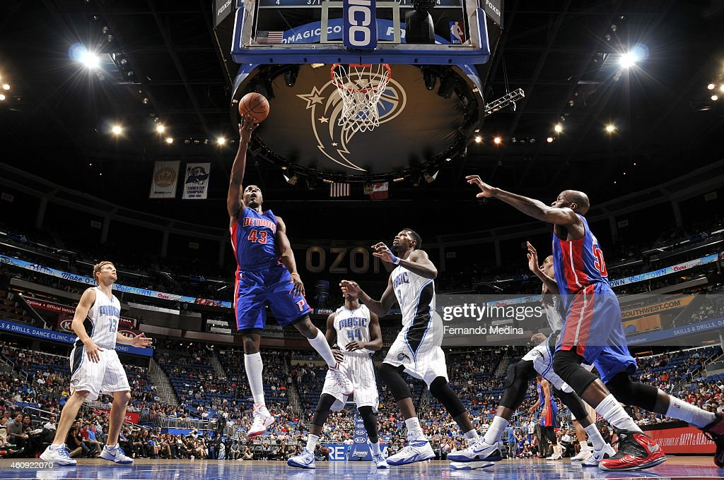 Anthony Tolliver of the Detroit Pistons shoots against the Orlando Magic on December 30 2014 at Amway Center in Orlando Florida NOTE TO USER User...
