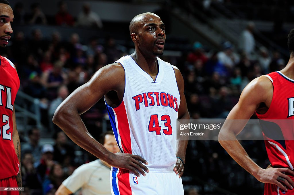 Anthony Tolliver of the Detroit Pistons stands on the court during a game against the Atlanta Hawks on January 9 2015 at The Palace of Auburn Hills...
