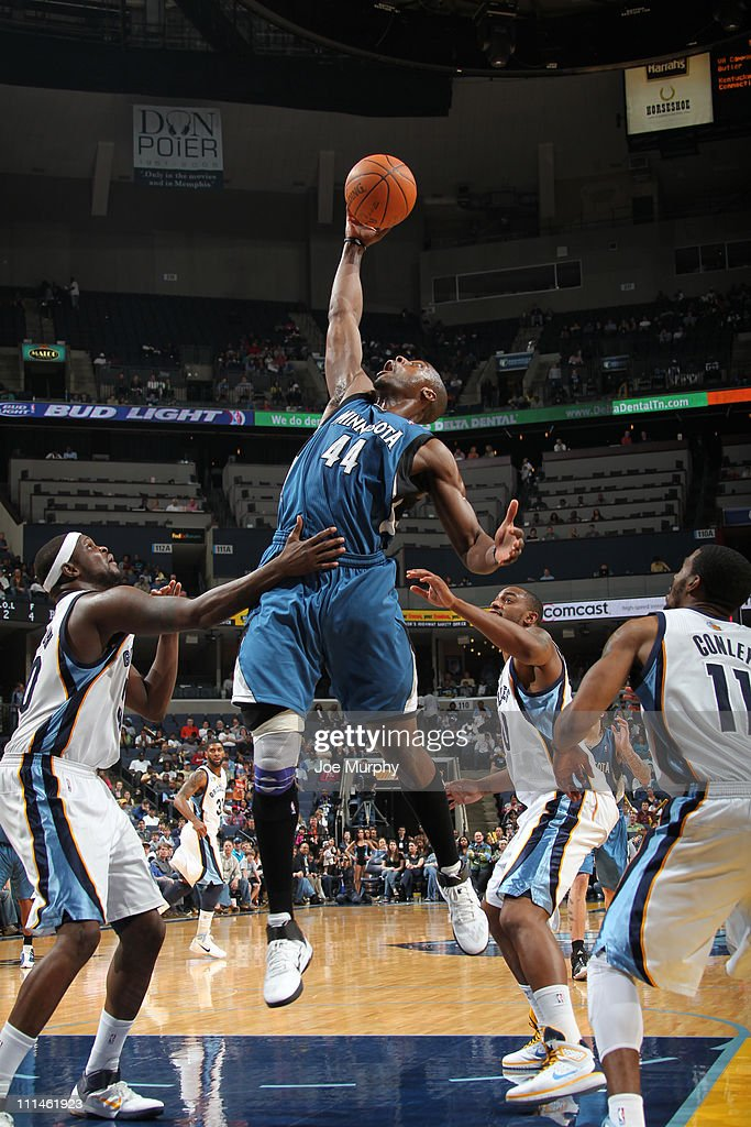 <a gi-track='captionPersonalityLinkClicked' href=/galleries/search?phrase=Anthony+Tolliver&family=editorial&specificpeople=4195496 ng-click='$event.stopPropagation()'>Anthony Tolliver</a> #44 of the MInnesota Timberwolves rebounds against the Memphis Grizzlies on April 2, 2011 at FedEx Forum in Memphis,Tennessee.