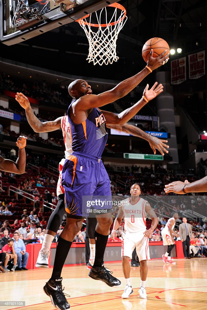 Anthony Tolliver of the Phoenix Suns goes up for a shot against the Houston Rockets on October 13 2014 at the Toyota Center in Houston Texas NOTE TO...