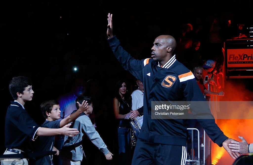 Anthony Tolliver of the Phoenix Suns is introduced before the NBA game against the Los Angeles Lakers at US Airways Center on October 29 2014 in...