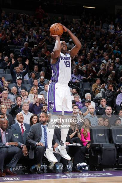 Anthony Tolliver of the Sacramento Kings shoots the ball during a game against the Memphis Grizzlies on March 27 2017 at Golden 1 Center in...