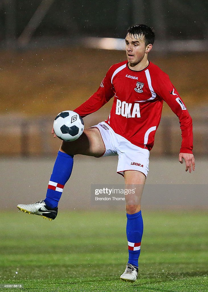Anthony Tomelic of United controls the ball during the FFA Cup match between Sydney United 58 FC and the FNQ Heat at Sydney United Sports Centre on August 12, 2014 in Sydney, Australia.