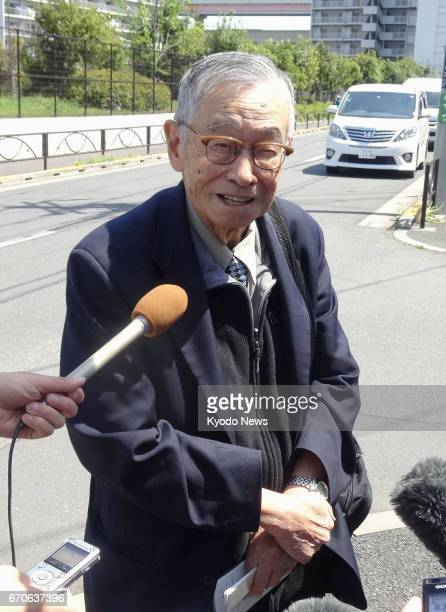 Anthony Tu a toxicologist and Colorado State University professor emeritus speaks with reporters outside the Tokyo Detention House on April 20 after...