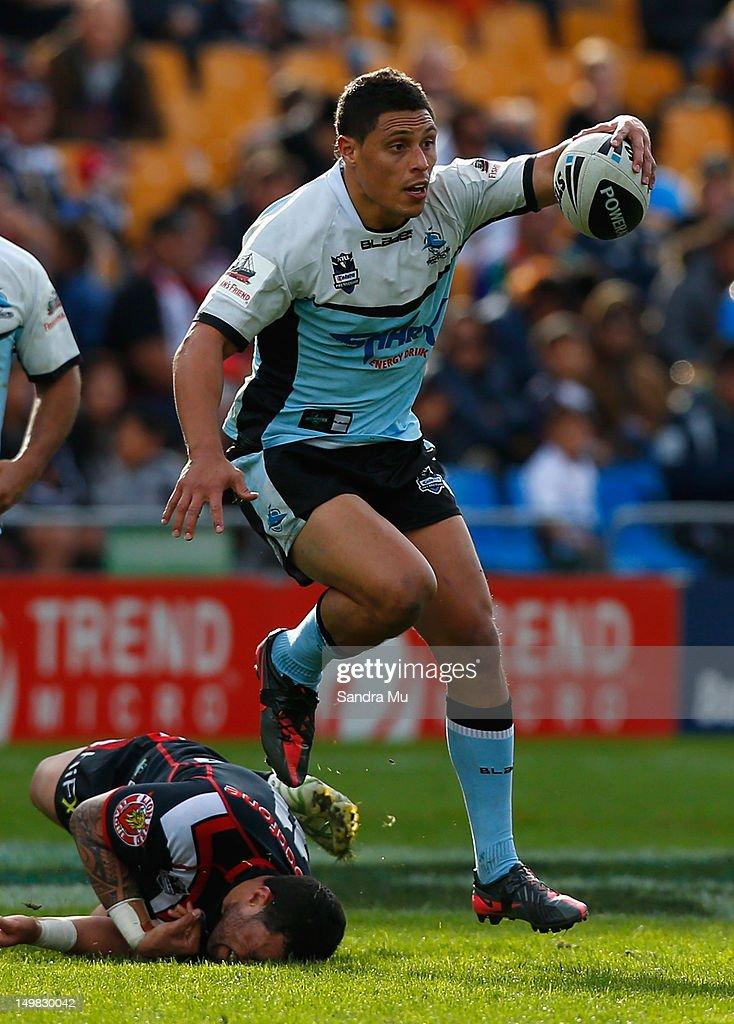 Anthony Tupou of the Sharks in action during the round 22 NRL match between the Warriors and the Cronulla Sharks at Mt Smart Stadium on August 5, 2012 in Auckland, New Zealand.