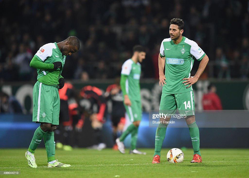 Anthony Ujah and Claudio Pizarro of Bremen look dejected during the Bundesliga match between Werder Bremen and Hamburger SV at Weserstadion on...