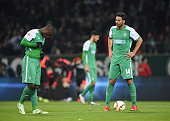 Anthony Ujah and Claudio Pizarro of Bremen look dejected during the Bundesliga match between Werder Bremen and Hamburger SV at Weserstadion on...