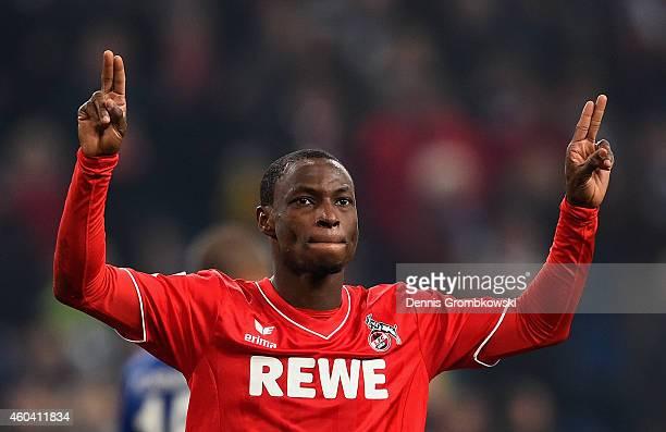 Anthony Ujah of 1 FC Koeln celebrates after the Bundesliga match between FC Schalke 04 and 1 FC Koeln at Veltins Arena on December 13 2014 in...