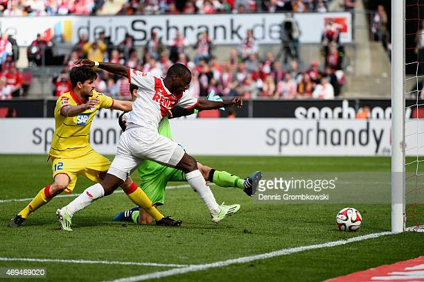 Anthony Ujah of 1 FC Koeln misses a chance at goal during the Bundesliga match between 1 FC Koeln and 1899 Hoffenheim at RheinEnergieStadion on April...