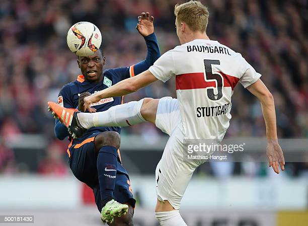 Anthony Ujah of Bremen ans Timo Baumgartl of Stuttgart compete for the ball during the Bundesliga match between VfB Stuttgart and Werder Bremen at...