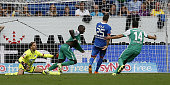 Anthony Ujah of Bremen celebrates after scoring his team's second goal with Claudio Pizarro during the Bundesliga match between 1899 Hoffenheim and...