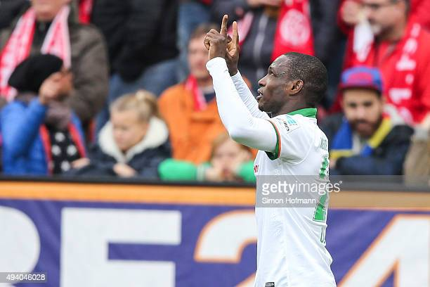 Anthony Ujah of Bremen celebrates his team's second goal during the Bundesliga match between 1 FSV Mainz 05 and Werder Bremen at Coface Arena on...