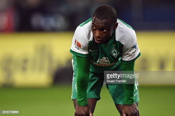 Anthony Ujah of Bremen reacts after the Bundesliga match between Hamburger SV and Werder Bremen at Volksparkstadion on April 22 2016 in Hamburg...