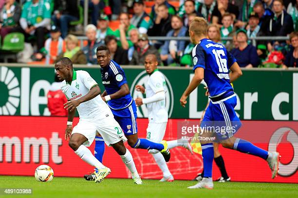 Anthony Ujah of Bremen runs with the ball during the Bundesliga match between Werder Bremen and FC Ingolstadt at Weserstadion on September 19 2015 in...