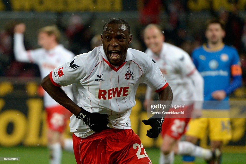 Anthony Ujah of Cologne celebrates after scoring his team's second goal during the Bundesliga match between 1. FC Koeln and Eintracht Braunschweig at RheinEnergieStadion on December 10, 2012 in Cologne, Germany.