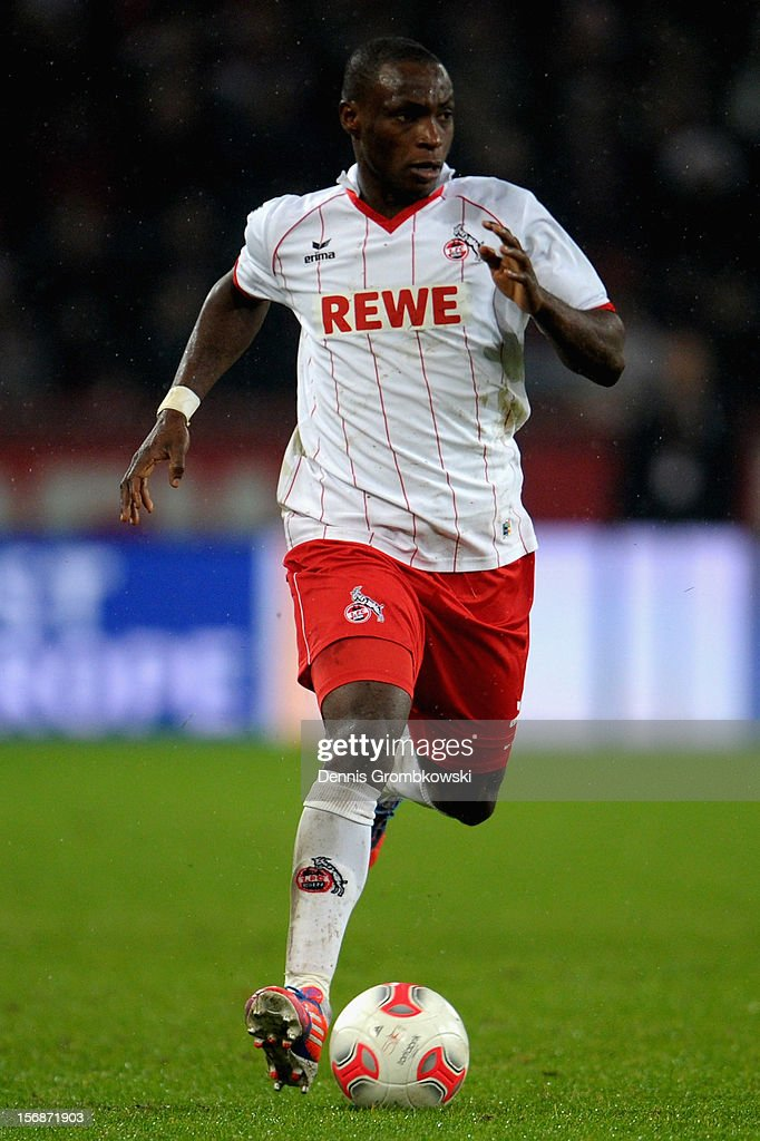 Anthony Ujah of Cologne controls the ball during the Second Bundesliga match between 1. FC Koeln and VfL Bochum at RheinEnergieStadion on November 23, 2012 in Cologne, Germany.