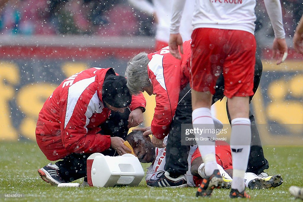 Anthony Ujah of Cologne is treated during the Second Bundesliga match between 1. FC Koeln and Union Berlin at RheinEnergieStadion on February 23, 2013 in Cologne, Germany.