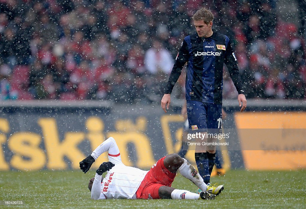 Anthony Ujah of Cologne lies on the pitch after suffering an injury during the Second Bundesliga match between 1. FC Koeln and Union Berlin at RheinEnergieStadion on February 23, 2013 in Cologne, Germany.