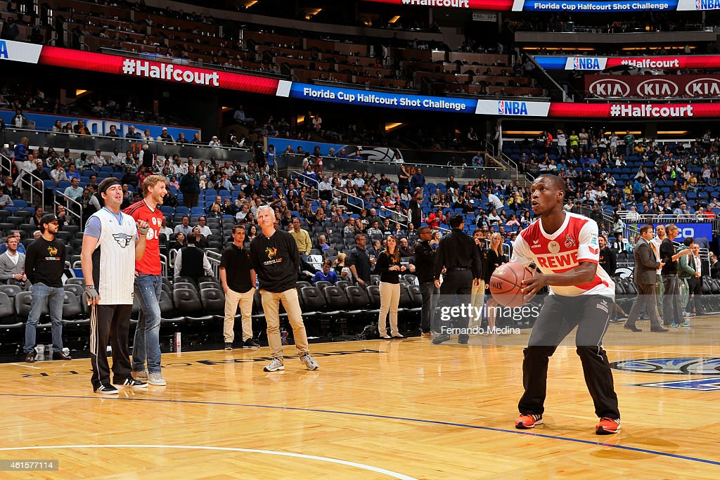 Anthony Ujah of FC Cologne shoots a three pointer during half time of the Houston Rockets and the Orlando Magic on January 14, 2015 at Amway Center in Orlando, Florida.