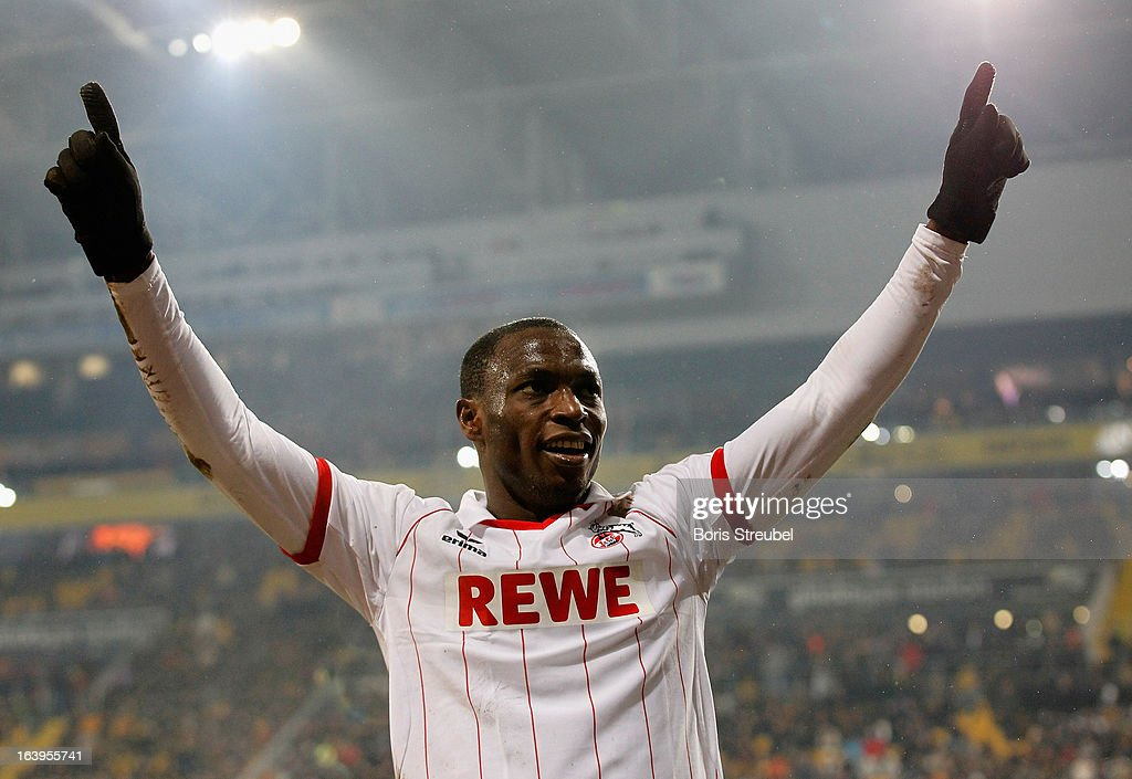Anthony Ujah of Koeln celebrates after scoring his team's second goal during the Second Bundesliga match between SG Dynamo Dresden and 1. FC Koeln at Gluecksgas-Stadion on March 18, 2013 in Dresden, Germany.