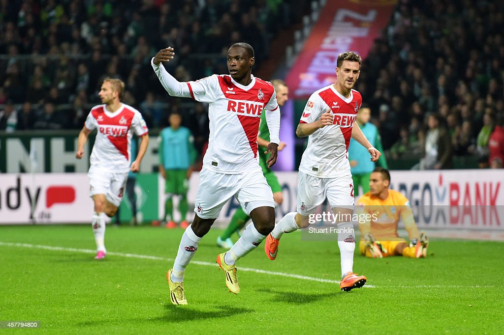 Anthony Ujah of Koeln celebrates after scoring the opening goal during the Bundesliga match between SV Werder Bremen and FC Koeln at Weserstadion on October 24, 2014 in Bremen, Germany.