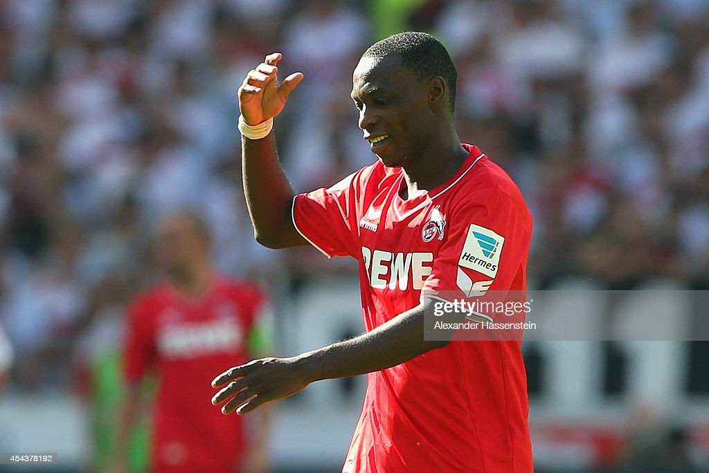 <a gi-track='captionPersonalityLinkClicked' href=/galleries/search?phrase=Anthony+Ujah&family=editorial&specificpeople=7910849 ng-click='$event.stopPropagation()'>Anthony Ujah</a> of Koeln reacts during the Bundesliga match between VfB Stuttgart and 1. FC Koeln at Mercedes-Benz Arena on August 30, 2014 in Stuttgart, Germany.