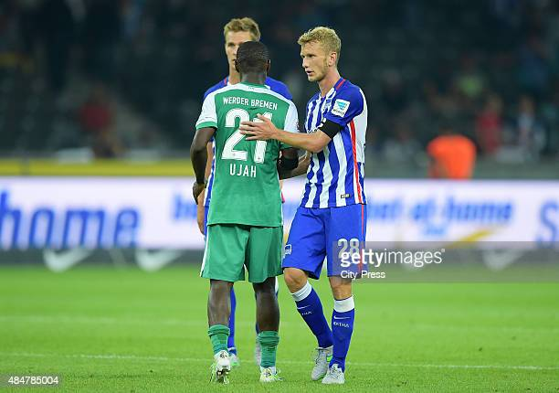 Anthony Ujah of Werder Bremen and Fabian Lustenberger of Hertha BSC during the game between Hertha BSC and Werder Bremen on August 21 2015 in Berlin...