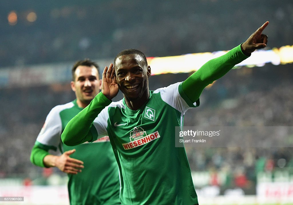 Anthony Ujah of Werder Bremen celebrates as he scores their sixth goal during the Bundesliga match between Werder Bremen and VfB Stuttgart at Weserstadion on May 2, 2016 in Bremen, Germany.