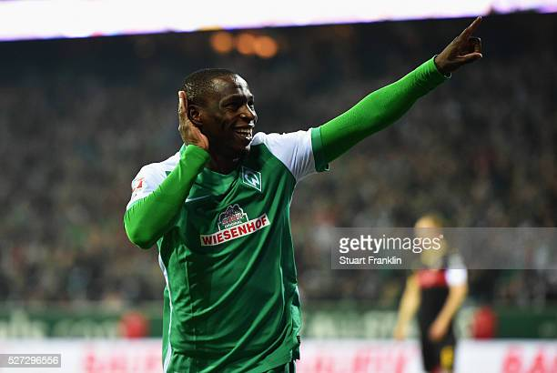 Anthony Ujah of Werder Bremen celebrates as he scores their sixth goal during the Bundesliga match between Werder Bremen and VfB Stuttgart at...