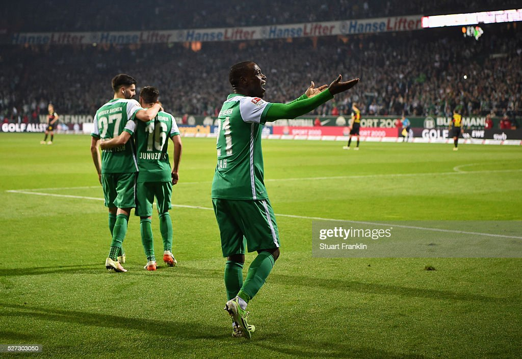 <a gi-track='captionPersonalityLinkClicked' href=/galleries/search?phrase=Anthony+Ujah&family=editorial&specificpeople=7910849 ng-click='$event.stopPropagation()'>Anthony Ujah</a> of Werder Bremen celebrates as he scores their sixth goal during the Bundesliga match between Werder Bremen and VfB Stuttgart at Weserstadion on May 2, 2016 in Bremen, Germany.